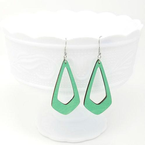 Grass Green Wood Earrings