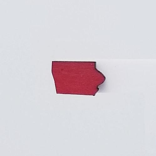 Red Iowa Wood Stud Earrings