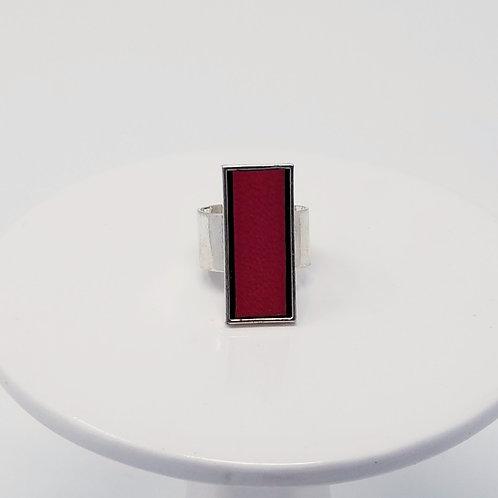 Plum Leather & Metal Ring
