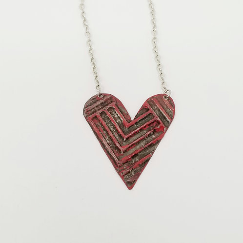 Medium Red Heart Molten Solder Necklace 11