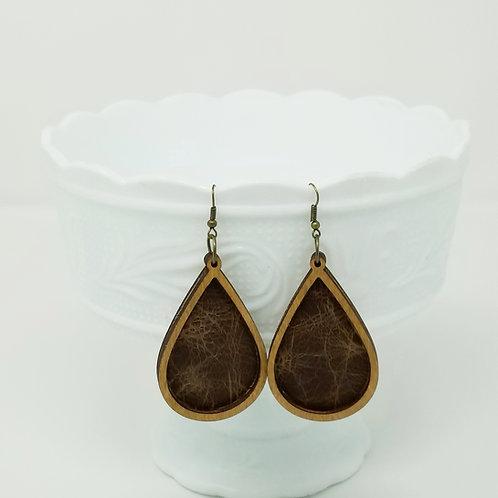 Bay Brown Bomber King Genuine Leather & Wood Earrings