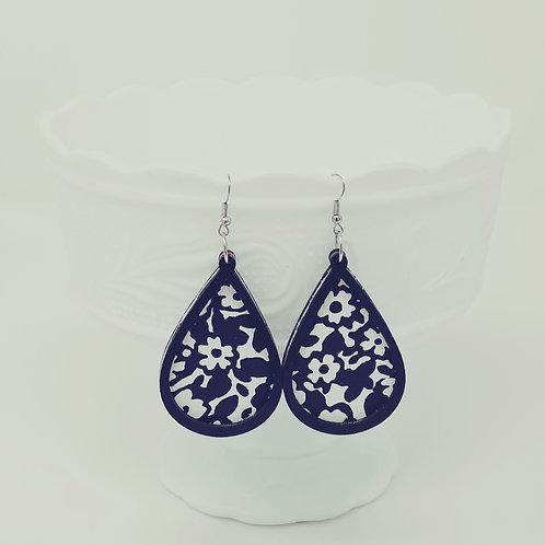 White Flowers on Navy Genuine Leather & Wood Earrings
