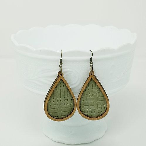 Asparagus Green Panama Basket Weave & Wood Earrings