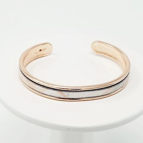 Silver & Melon Brushstroke Firm Leather & Metal Cuff Bracelet