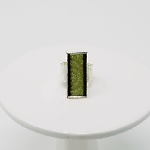 Green Embossed Leather & Metal Ring