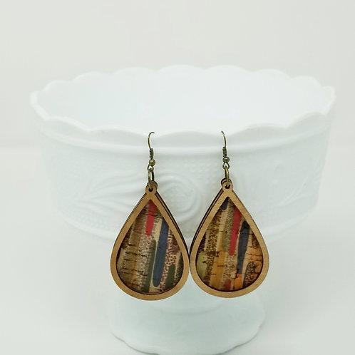 Colorful Splash Stripes Cork Fabric & Wood Earrings