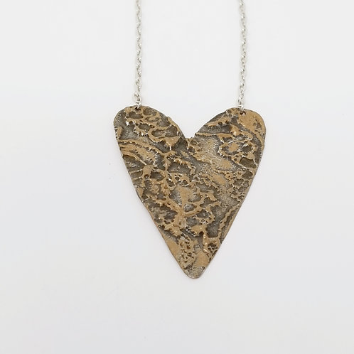 Long Bronze Heart Molten Solder Necklace 14