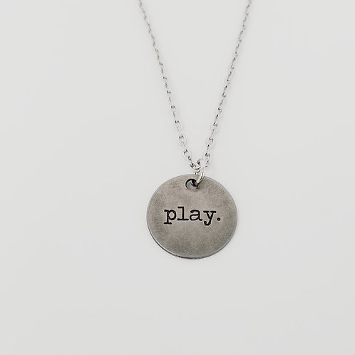 """""""Play"""" Word Pendant Necklace"""