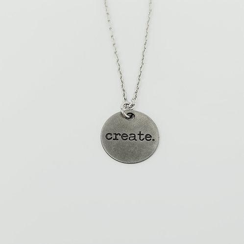 """Create"" Word Pendant Necklace"