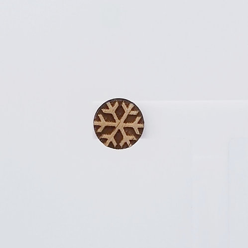 Snowflake Circle Wood Stud Earrings