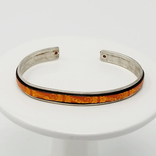 Boho Orange with Metallic Paisley Print Adjustable Leather & Metal Cuff Bracelet