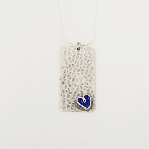 Short Royal Blue Wide Heart Ice Resin Necklace 4