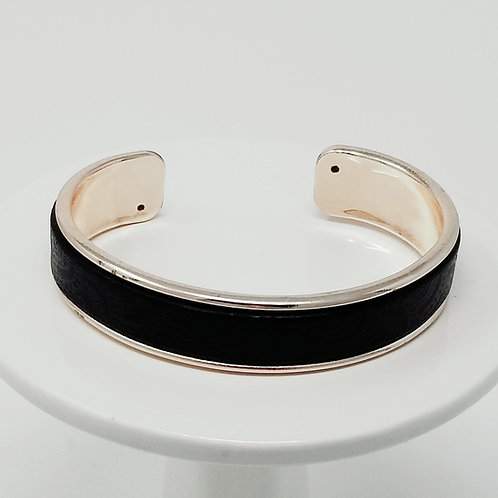 Black Embossed Firm Leather & Metal Cuff Bracelet