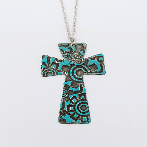 Long Turquoise Cross Molten Solder Necklace 3