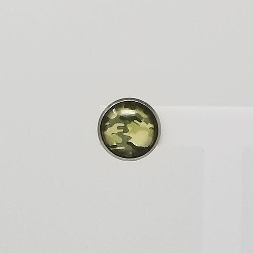 Green Camo 12mm Round Stud Earrings