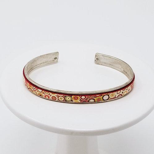 Fancy Print 3 Adjustable Leather & Metal Cuff Bracelet