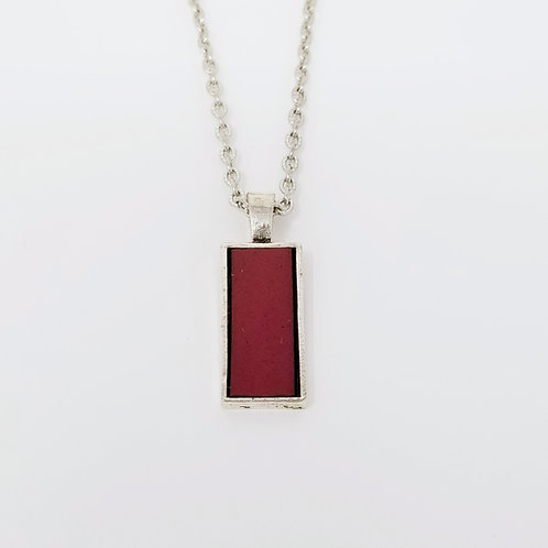Short Plum Leather & Metal Pendant Necklace 3