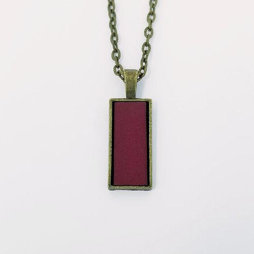 Short Plum Leather & Metal Pendant Necklace 4