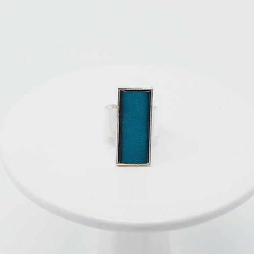 Turquoise Leather & Metal Ring