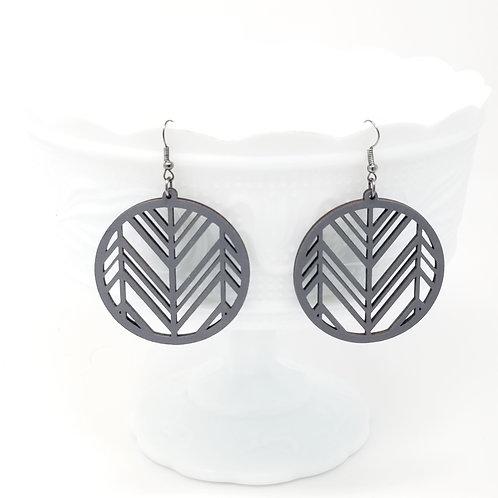 Grey Wood Earrings