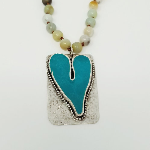 Long Beaded Blue Turquoise Heart Ice Resin Necklace 3