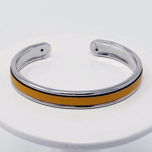 Mustard Firm Leather & Metal Cuff Bracelet