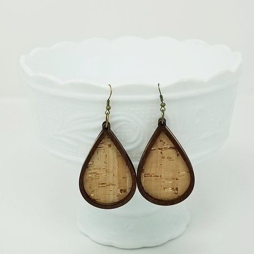 Rose Gold Accent Cork Leather & Wood Earrings