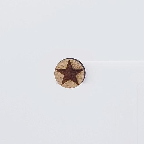 Star Circle Wood Stud Earrings