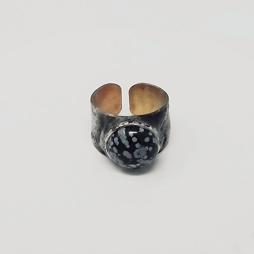 Snowflake Obsidian Soldered Brass Ring