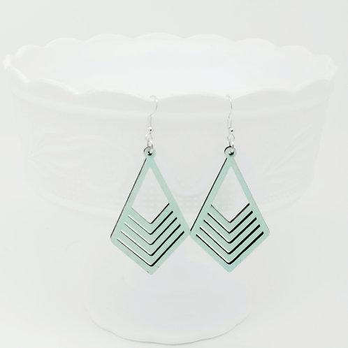 Mint Green Wood Earrings