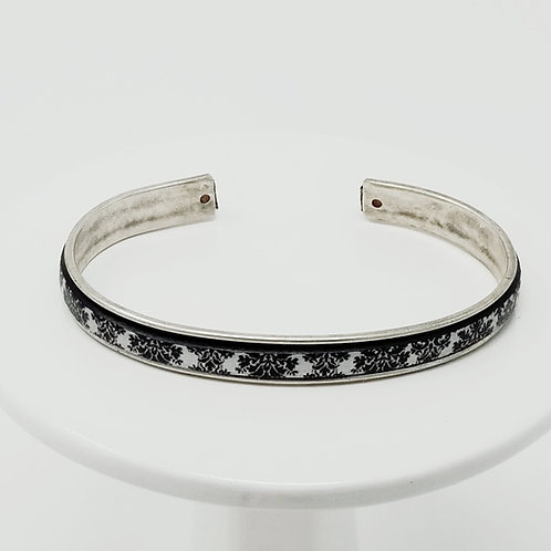 Black & White Victorian Adjustable Leather & Metal Cuff Bracelet