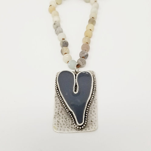 Long Beaded Grey Heart Ice Resin Necklace 8