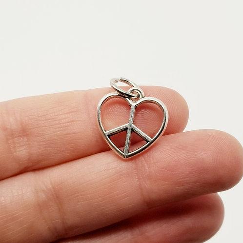 Peace Heart Silver Charm