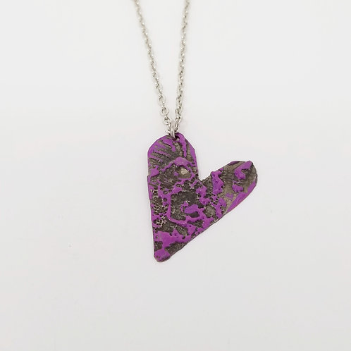 Short Purple Heart Molten Solder Necklace 23
