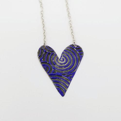 Medium Royal Blue Heart Molten Solder Necklace 20