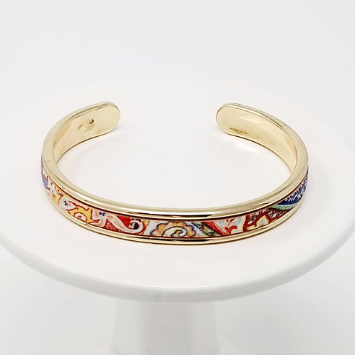 Primary Color Floral Firm Leather & Metal Cuff Bracelet