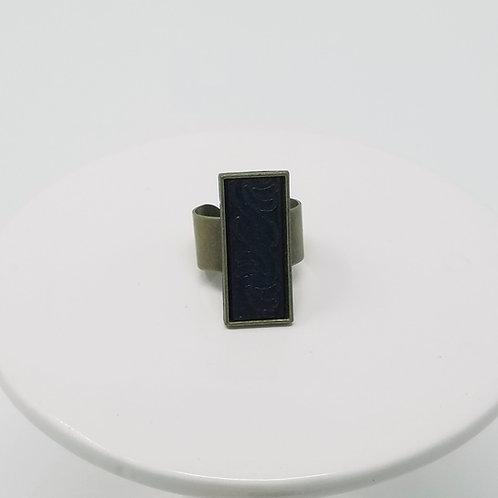 Black Embossed 2 Leather & Metal Ring