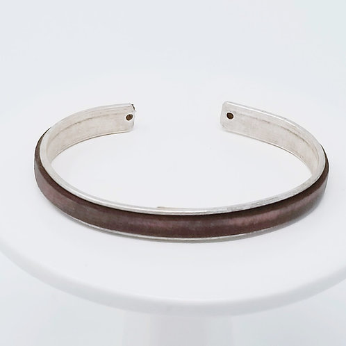 Dark Brown Vintage Adjustable Leather & Metal Cuff Bracelet