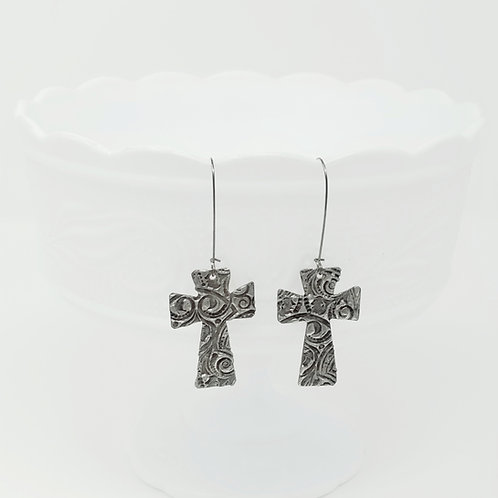 Long Small Cross 3 Molten Solder Earrings