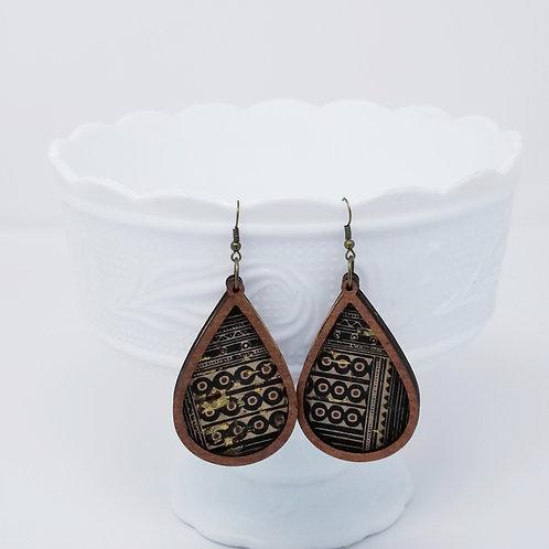 Black Egyptian Print Cork Leather & Wood Earrings
