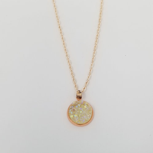Yellow AB Crystal Faux Druzy in Rose Gold Cabochon Pendant Necklace