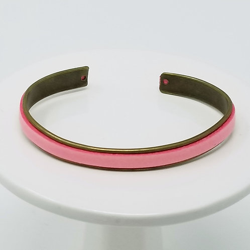 Pink Adjustable Leather & Metal Cuff Bracelet