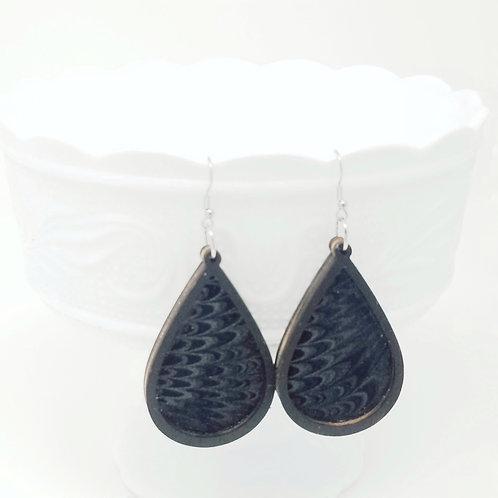 Black Pearl Wings Genuine Leather & Wood Earrings