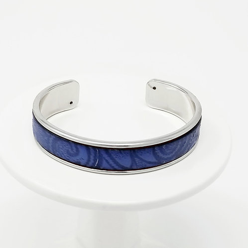 Blue Embossed Firm Leather & Metal Cuff Braclet