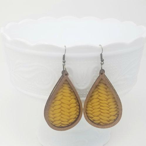 Golden Poppy Braided Fishtail Genuine Leather & Wood Earrings