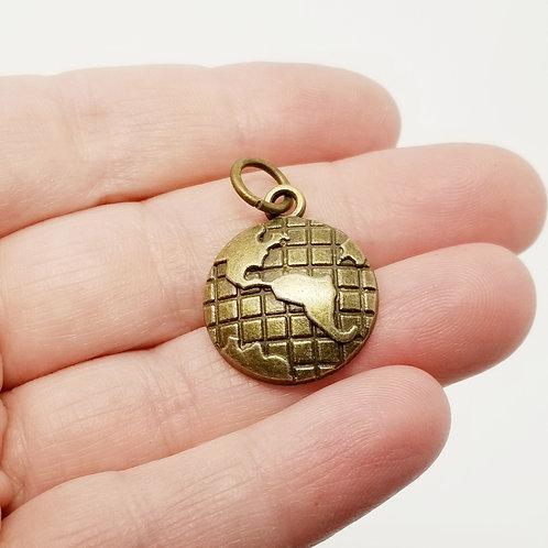 Globe Antique Bronze Charm