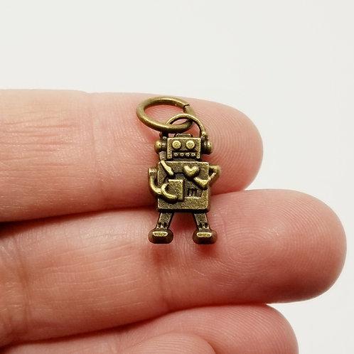 Robot Antique Bronze Charm
