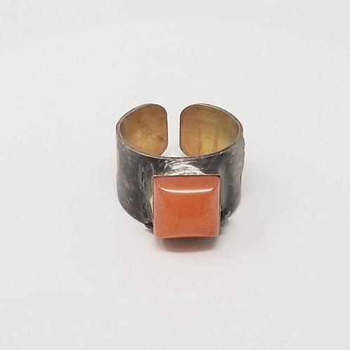 White Jade Dyed Orange Soldered Brass Ring