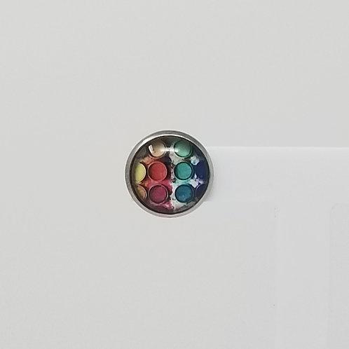 Artist Palette 12mm Round Stud Earrings