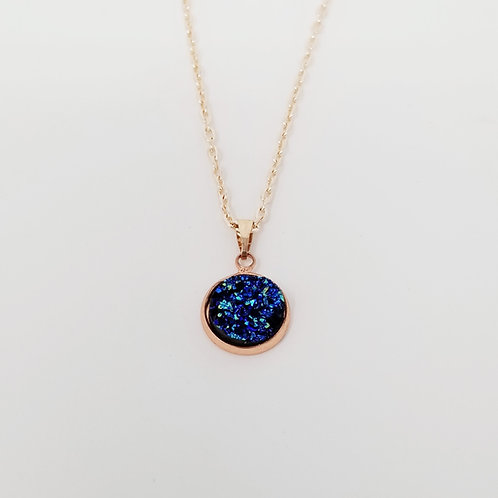 Purple Faux Druzy in Rose Gold Cabochon Pendant Necklace